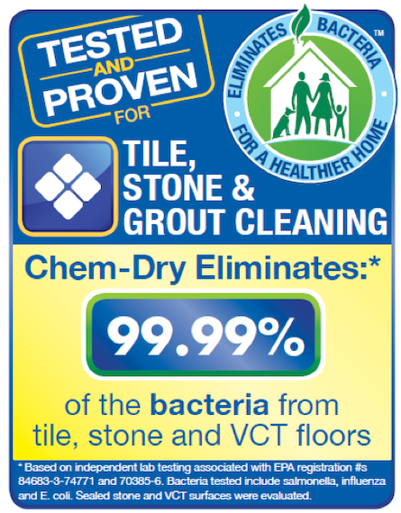 Chem-Dry of Mount Vernon removes 98.6% of the bacteria from stone, tile and grout in Mount Vernon WA